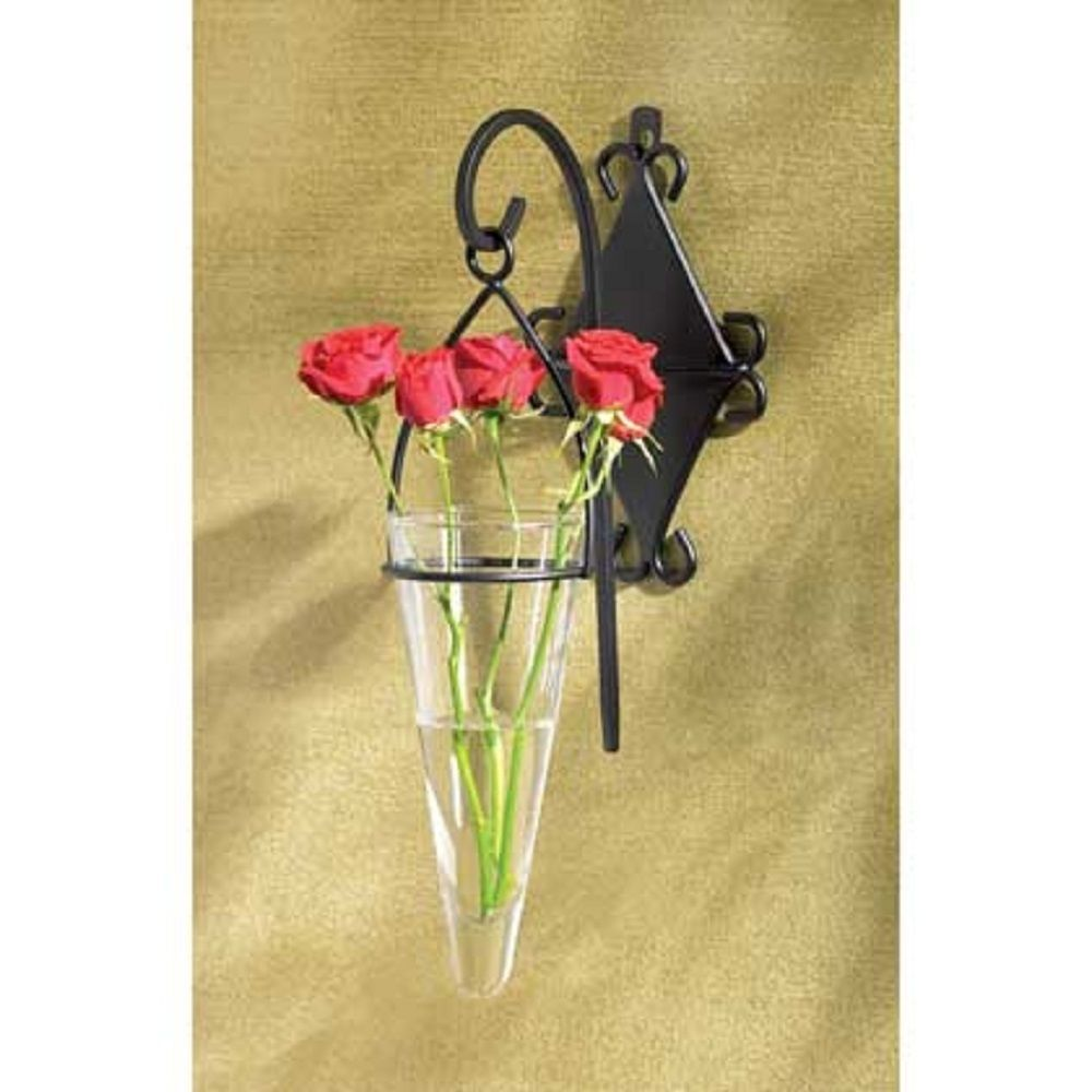 Hanging pendant vase set of 238179 httpstoresopebay black scrollwork wall bracket sturdily supports a sparkling glass hanging vase adding renaissance romance reviewsmspy
