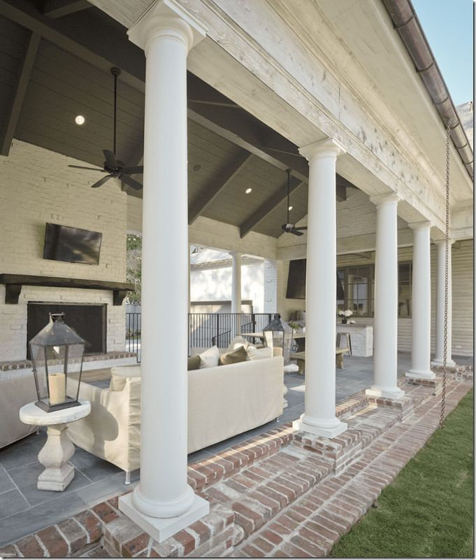 24 White Brick Outdoor Fireplace #whitebrickfireplace