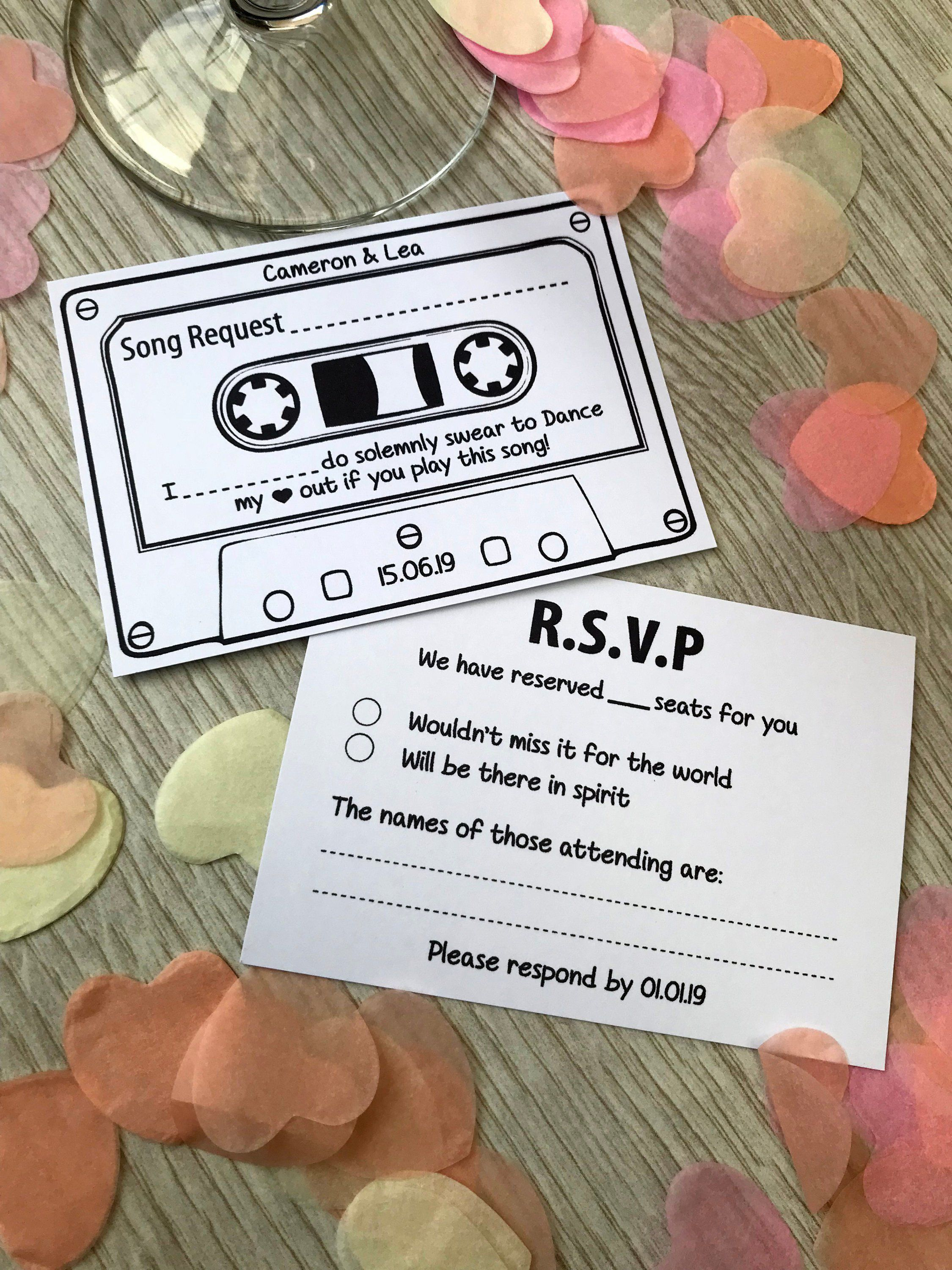Personalised RSVP Song Request Cards Wedding Music White