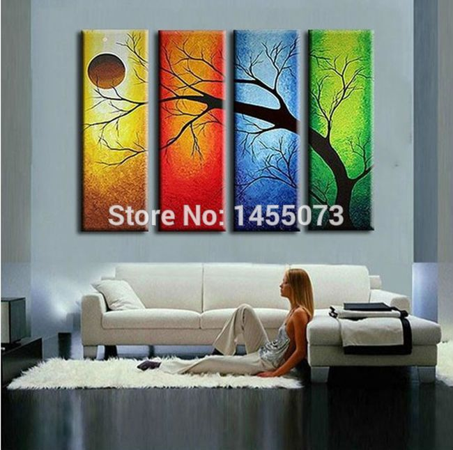 The four seasons Tree!! Top Quality Hand painted Modern Abstract Art Canvas Oil Painting Wall Art Gift ,Top Home Decoration-in Painting & Calligraphy from ...