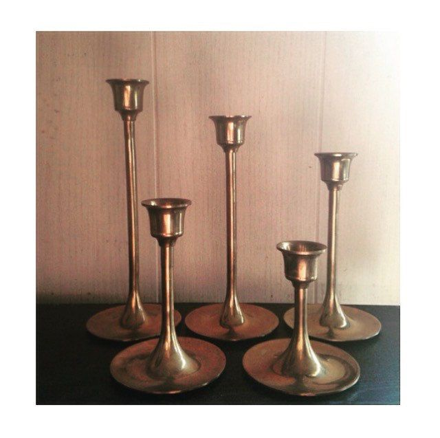 A personal favorite from my Etsy shop https://www.etsy.com/listing/273467246/vintage-brass-candlesticks-set-of-5