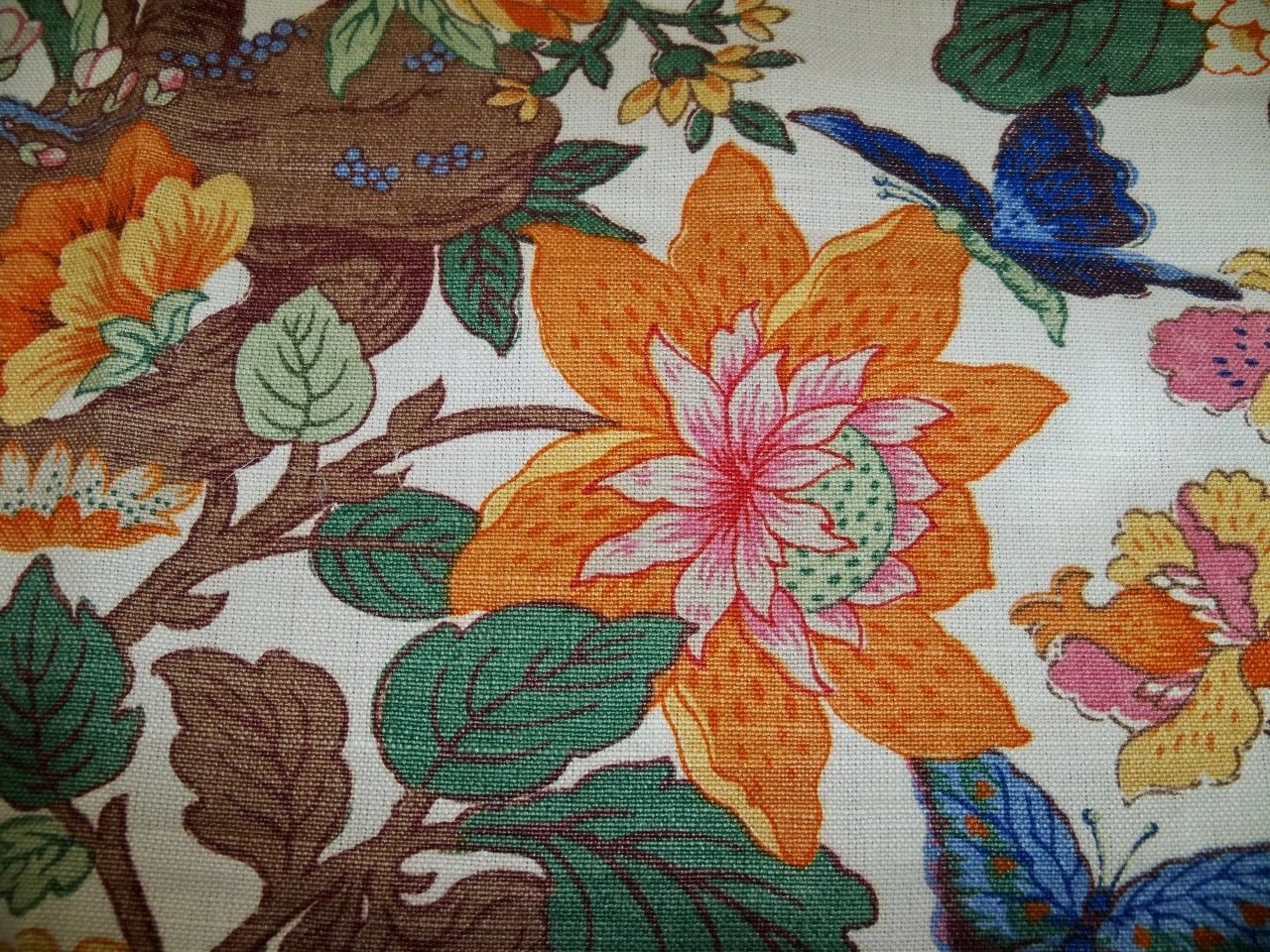 Lee Jofa Kravet Jacobean Linen Fabric 10 Yards Cream Green Rose Blue Multi | eBay
