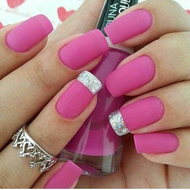 Diseño ( Rosa mate , Platiado ) | My Style | Pinterest | Nail nail ...