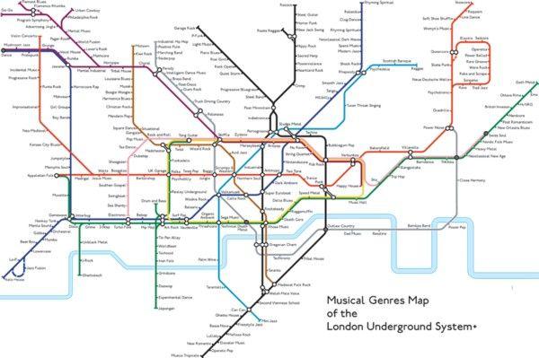 Music Genres Tube Map Prints Publicgriefjunkie Shop With
