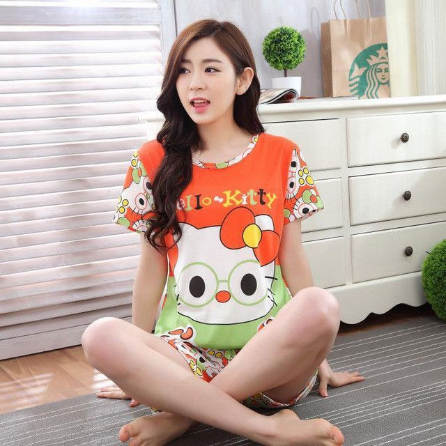 78c0a5b4ac0c Woman Pajamas Sets 2017 Summer Short Sleeve Thin Cotton Home Wear Cloth  Cartoon Print Loose Sleepwear Set Pyjama For Women