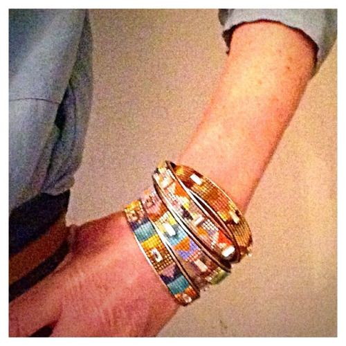 ISARO by Jill Golden Stacks of beaded cuffs with Swarovski Crystals.