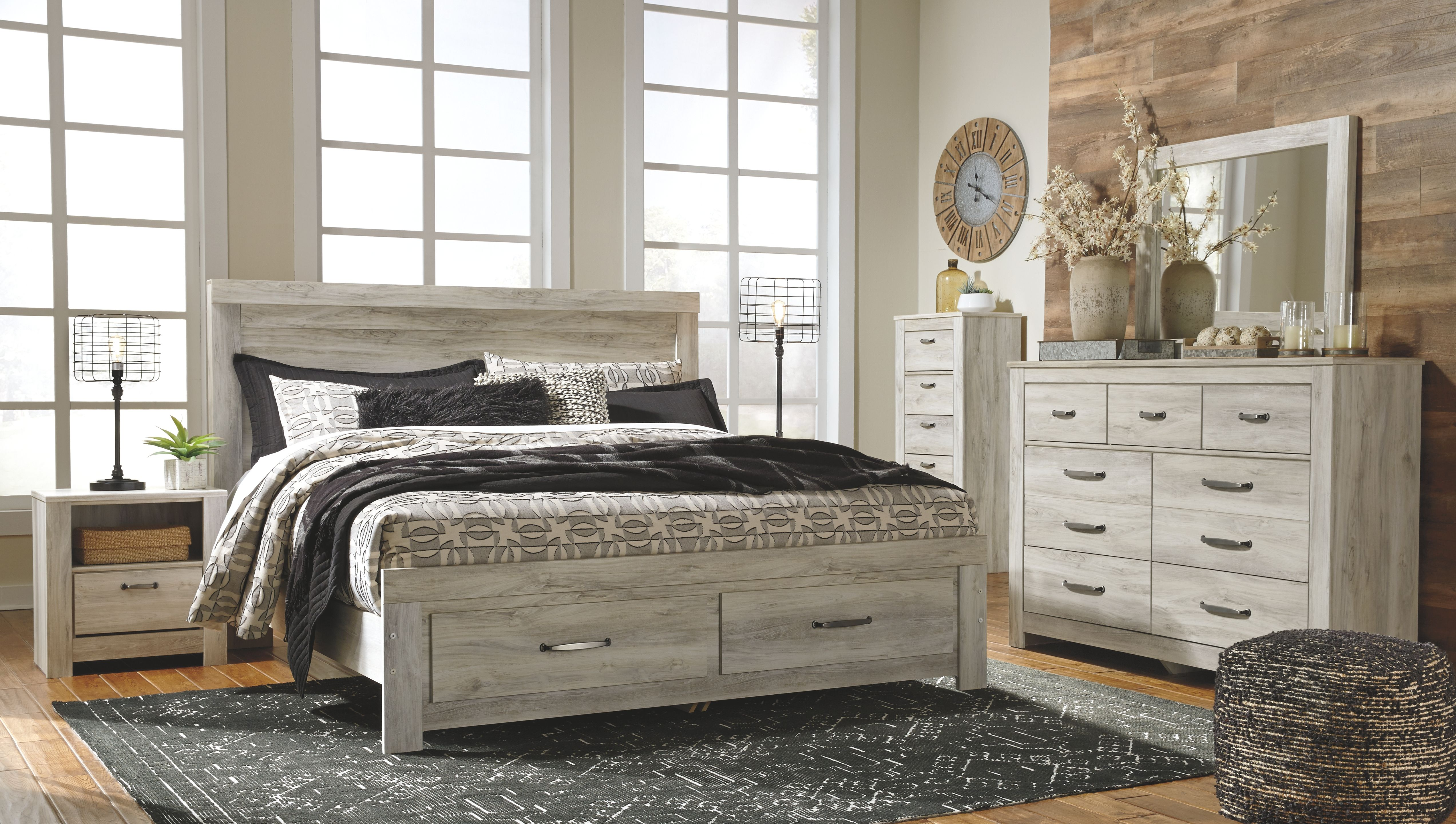 Bellaby King Platform Bed With Storage Whitewash Bedroom Panel Bedroom Sets Bed Furniture