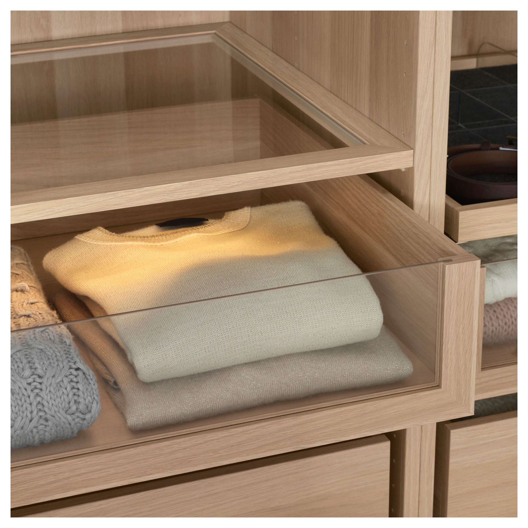 KOMPLEMENT Drawer With Glass Front White Stained Oak