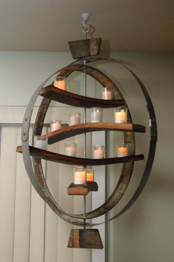 Unique Candle Holder Using Both The Wooden Staves And Iron
