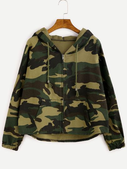 b788858d922a9 Camo Letter Print High Low Hooded Coat
