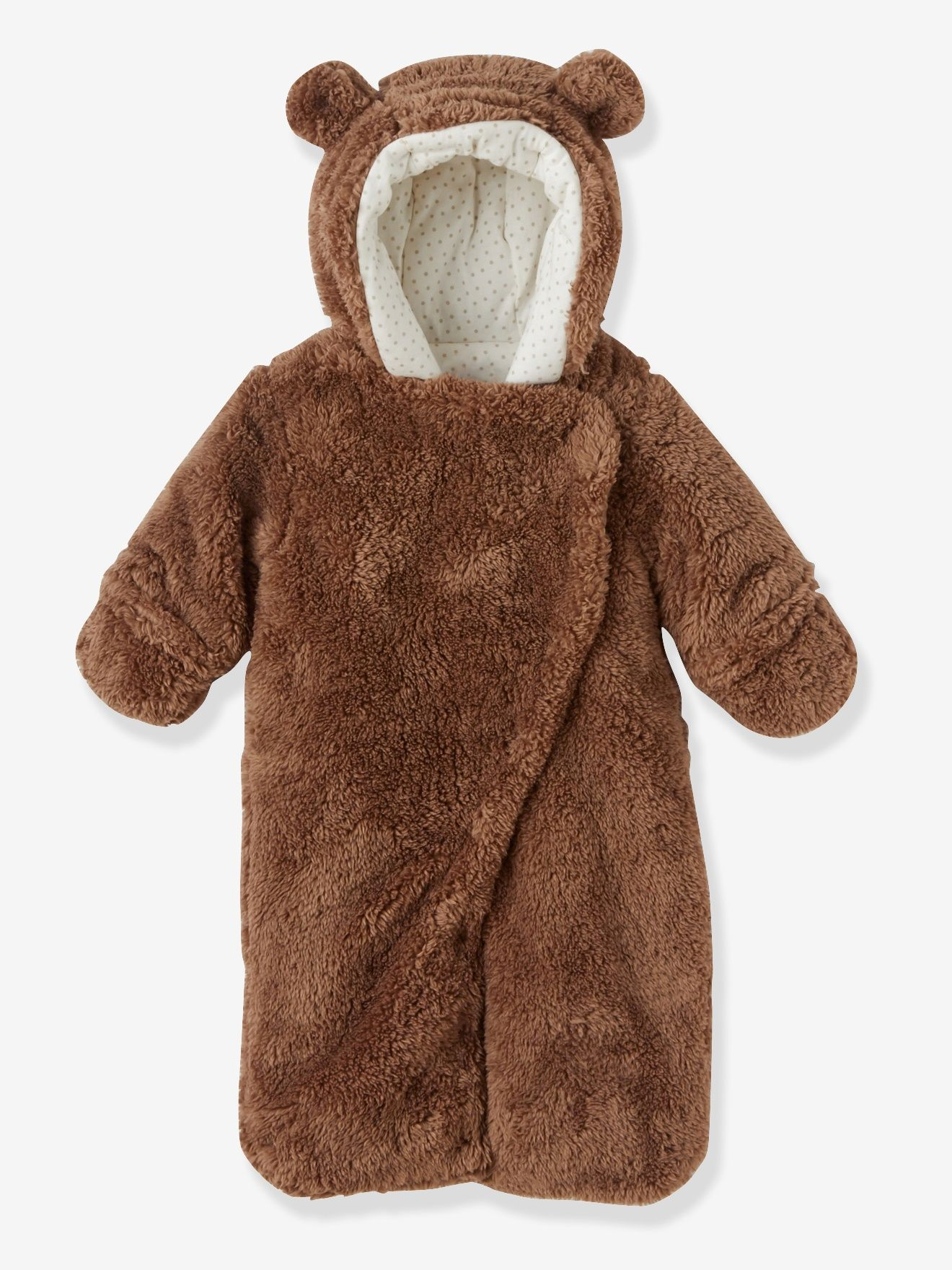 50016a3b3 Newborn Faux Fur Convertible Snowsuit - beige dark solid, Baby ...