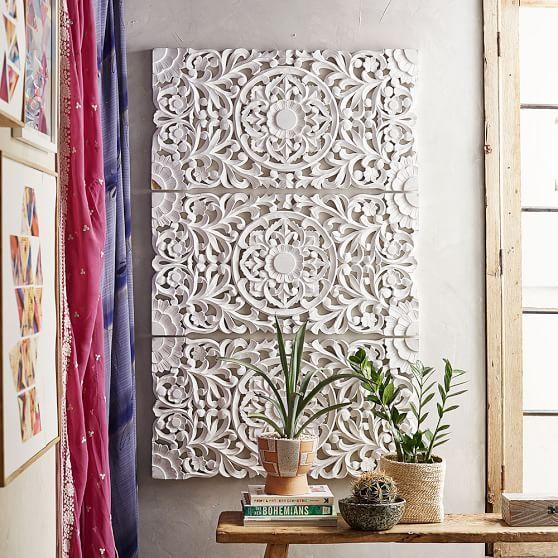 Lennon u0026 Maisy Ornate Wood Carved Wall Art, Set of 3 | PBteen