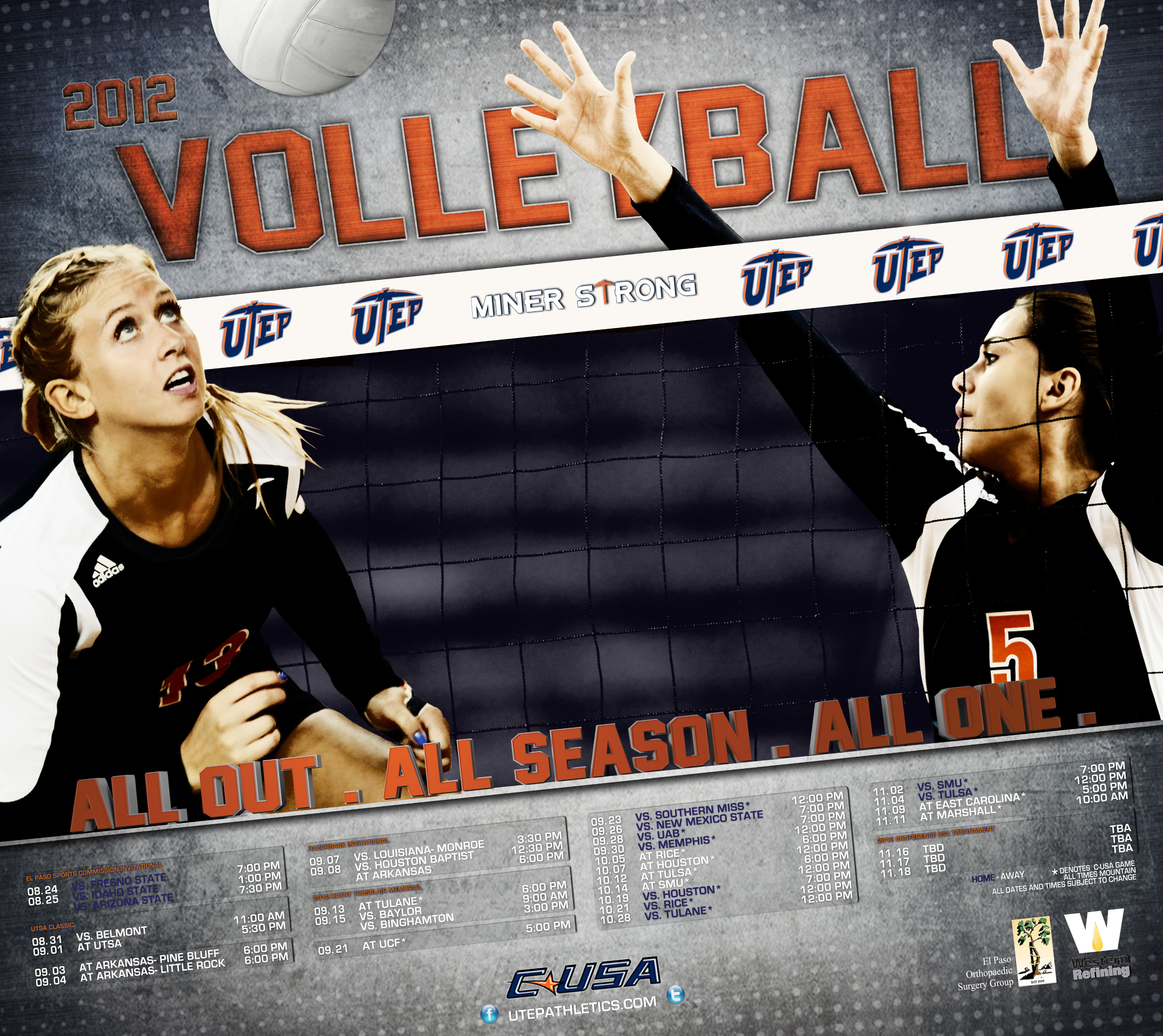 2012 Utep Volleyball Poster Volleyball Posters Sport Poster Poster
