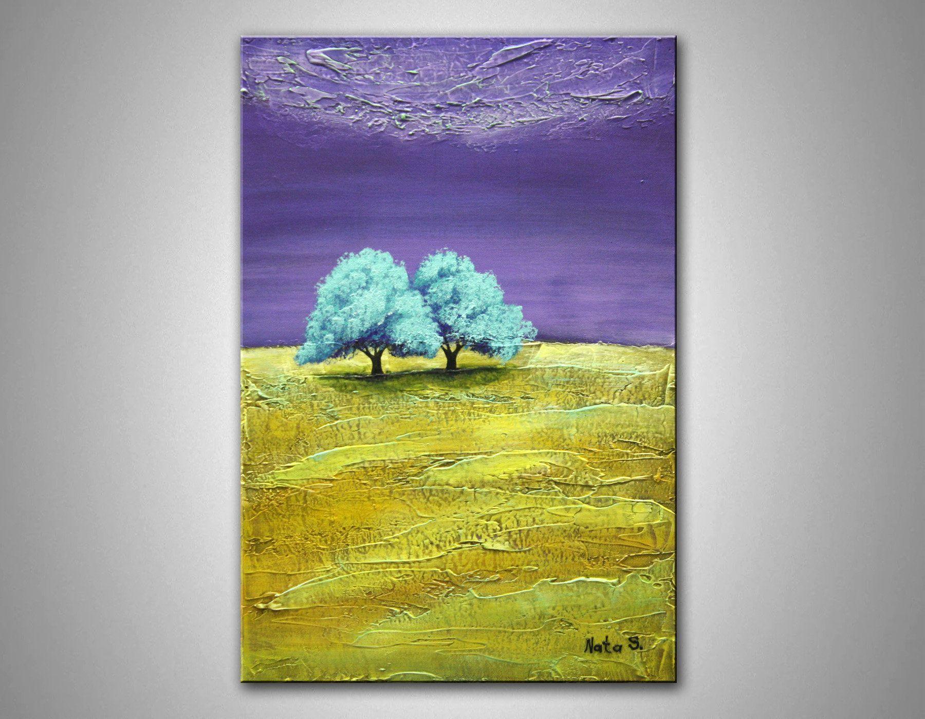 Landscape Original Painting Canvas Art Acrylic Painting Mixed Media Art Tree Painting Seasons Contemporary Art Home Wall Decor by Nata Landscape Original Painting Canvas...