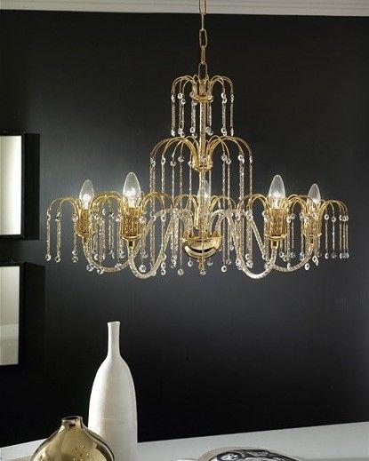 Lampadario 5 luci in metallo oro 24kt, bracci e componenti in ...