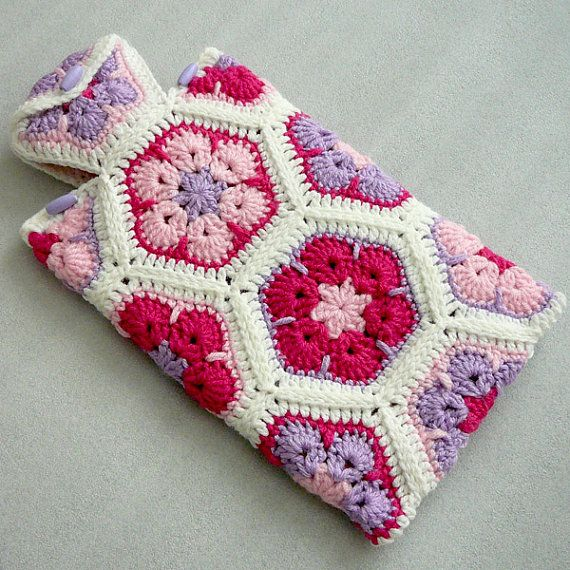 Crochet Hot Water Bottle Cozy African Flower Hot Water Bottle Cover