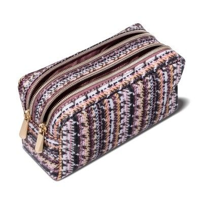 22288a651041 Sonia Kashuk Cosmetic Bag Double Zip Organizer Broken Houndstooth ...