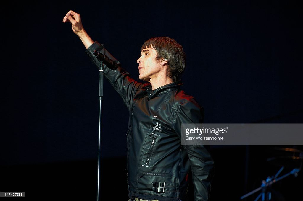 Ian Brown of The Stone Roses performs on stage at Heaton Park on June 29, 2012 in Manchester, United Kingdom.