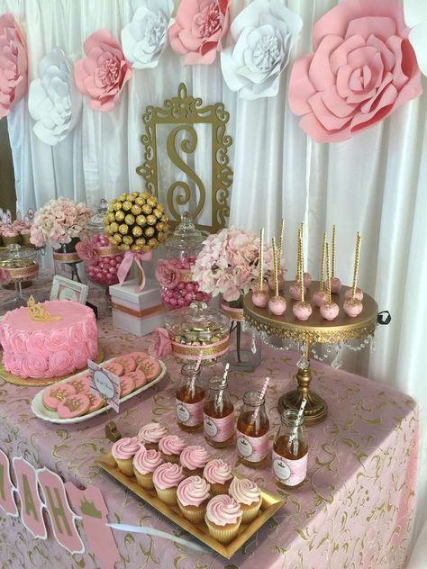 Pink And Gold Baby Shower Baby Shower Party Ideas In 2019 Sams