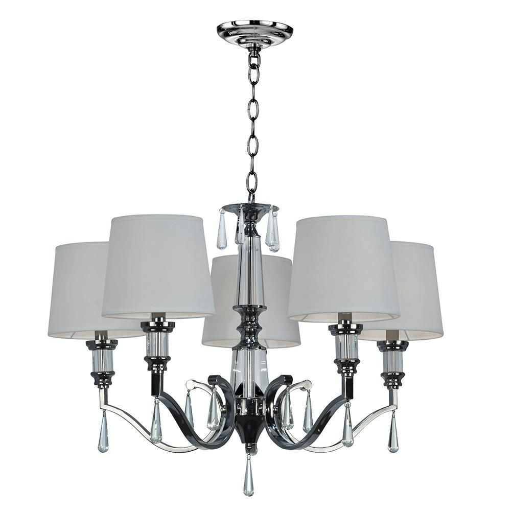 Springdale Lighting Eliza 5 Light Chrome Chandelier With Linen Fabric Shade Sgh16035 The