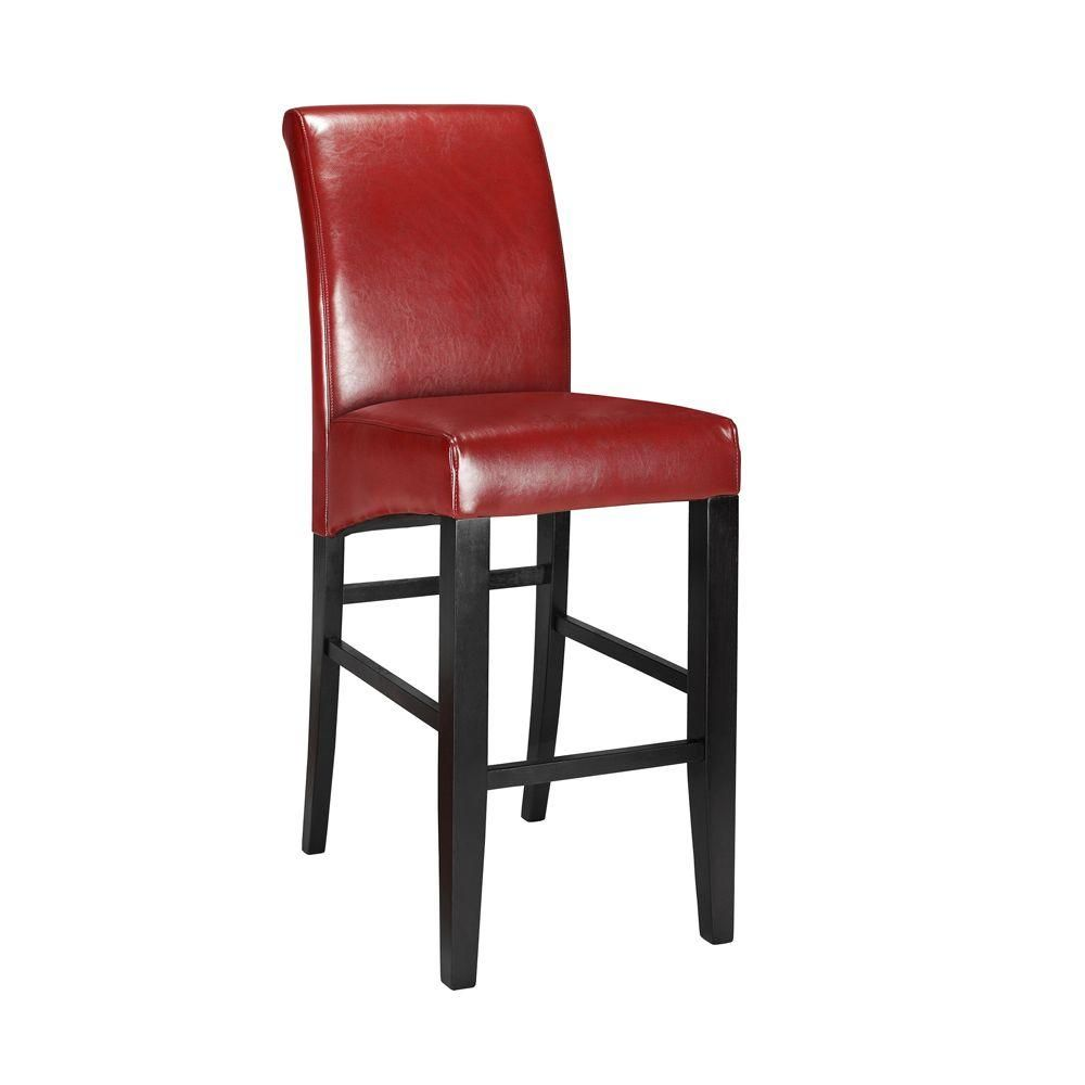 Kitchen Stools For Sale Parsons Rolled Back Leather Bar Stool In Red Products Leather