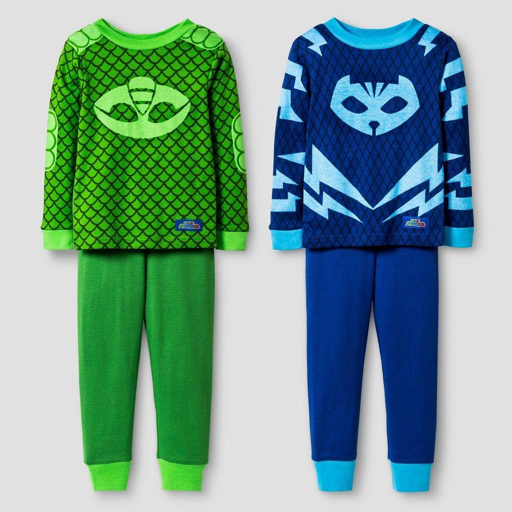 80a27a789c Toddler Boys  PJ Masks Catboy and Gekko 4-Piece Cotton Pajama Set Blue 4T