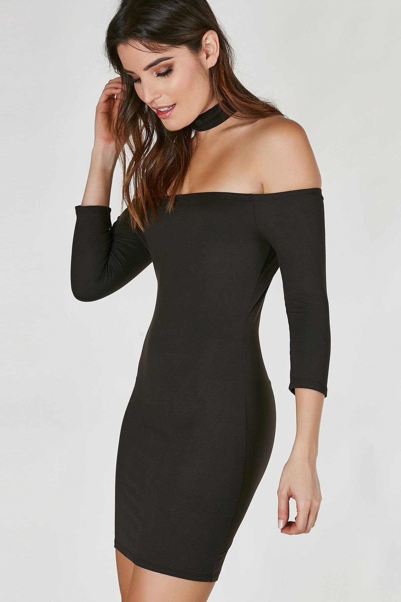 Simple off shoulder dress with trendy choker neckline soft