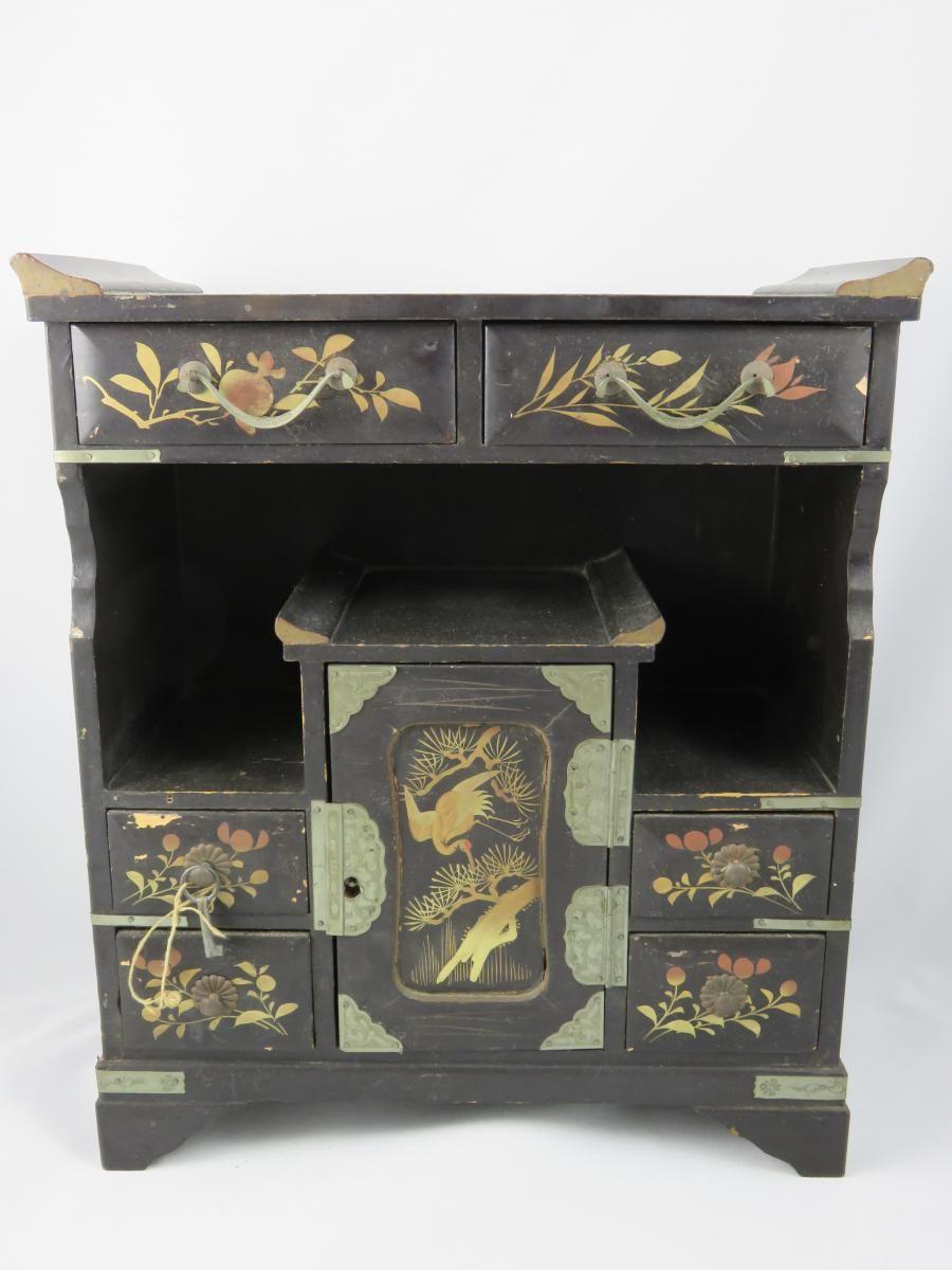 Petit Meuble Coffre A Bijoux Cabinet Bois Laque Chine Grue 20eme Autres Meubles Sur Petit Meuble Mobilier De Salon Coffre A Bijoux