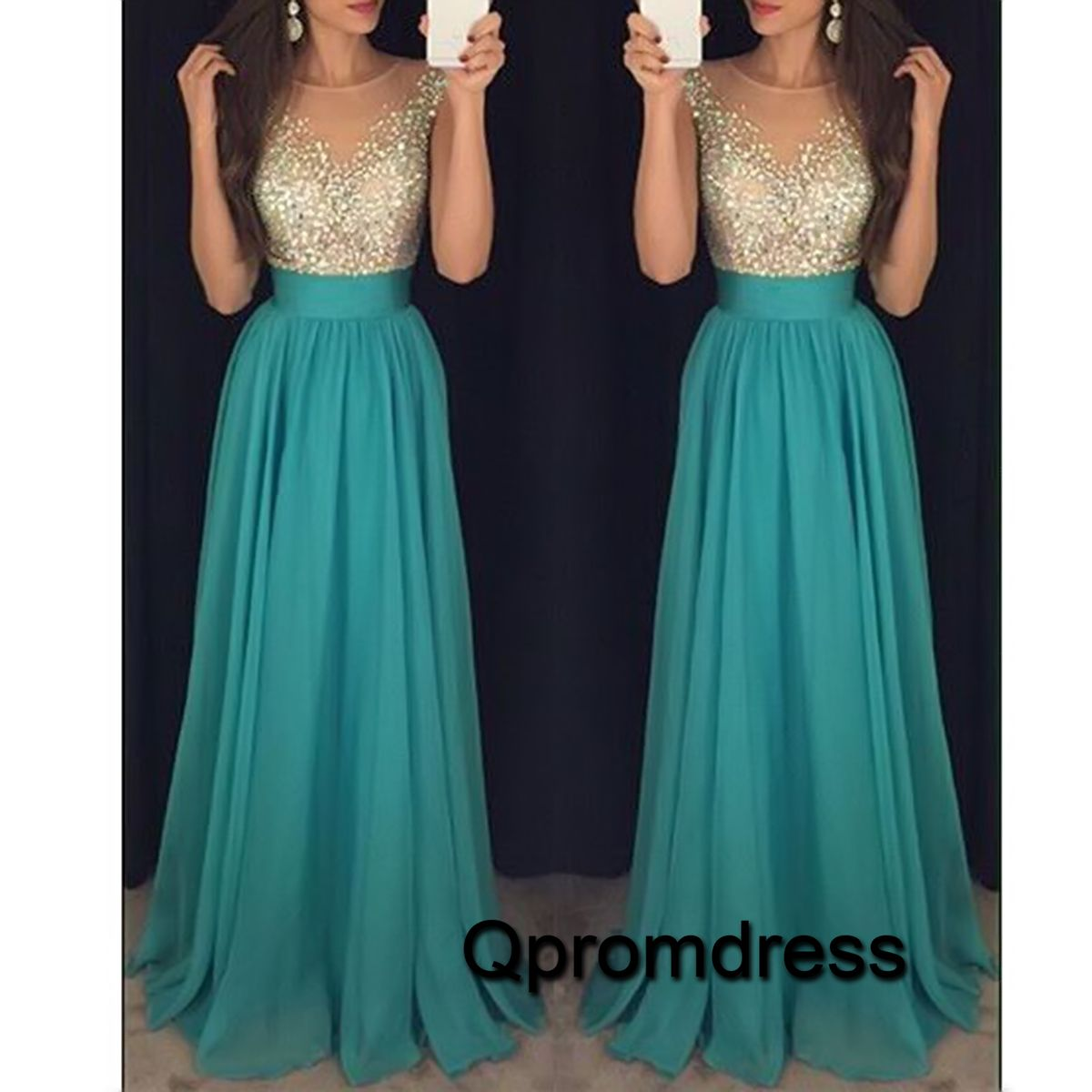 Beautiul green chiffon long sequins prom dress ball gown modest