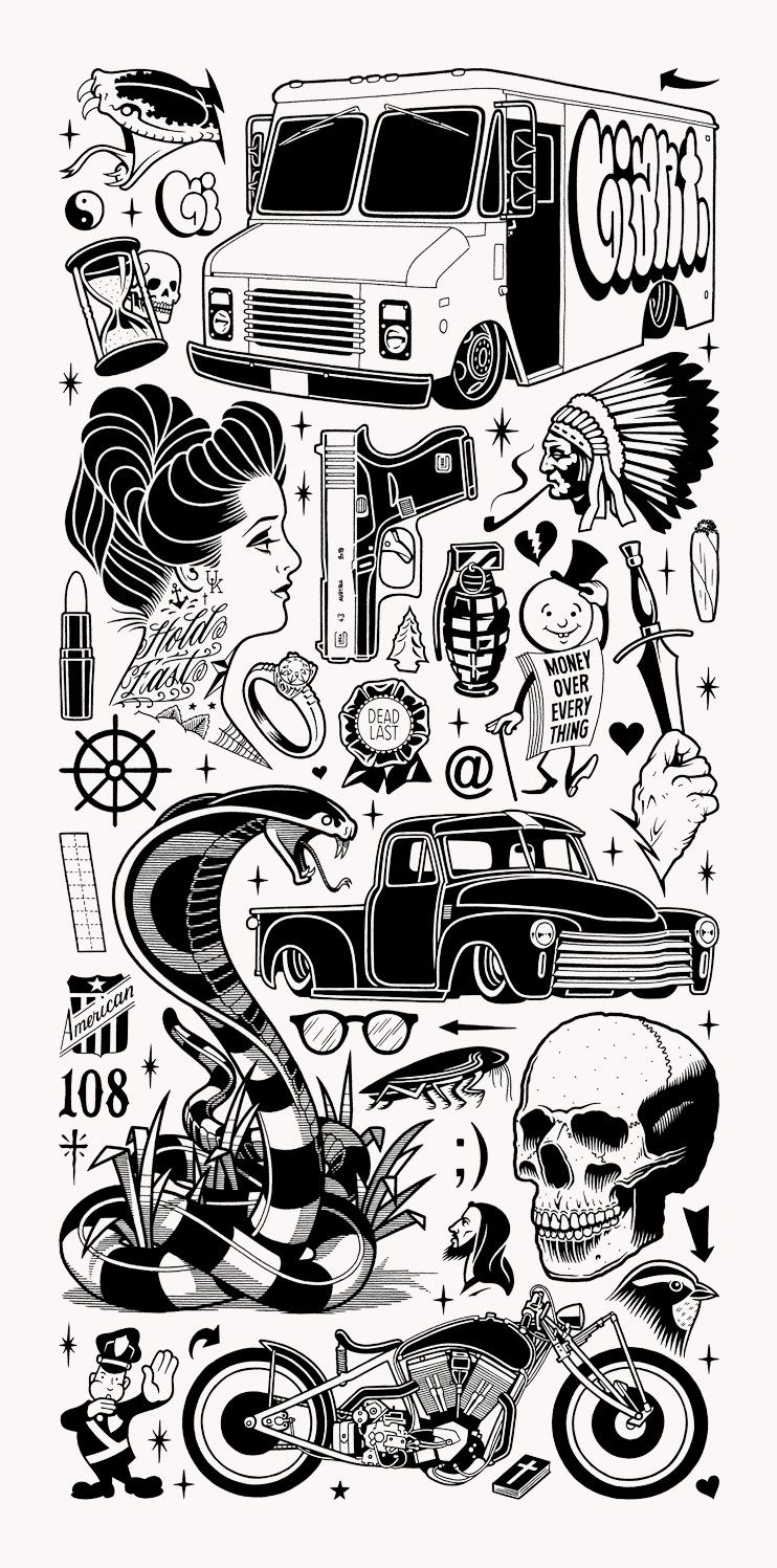 Tattoo Flash Art Black And White Guitar: Mike Giant – Black Book Gallery