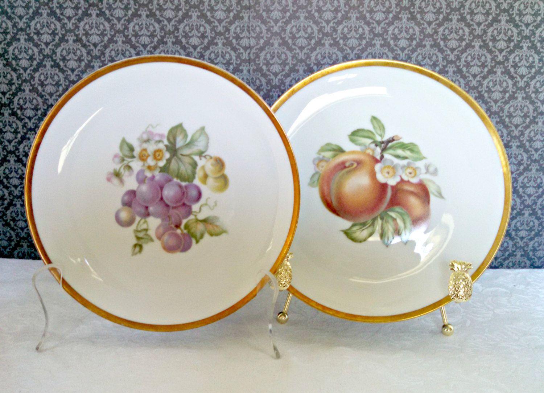 Vintage Fruit Salad Plates by Hutschenreuther Selb Set of 2 Peaches Grapes Bavarian Porcelain Pasco Imports Mid Century Circa 1960s & Vintage Fruit Salad Plates by Hutschenreuther Selb Set of 2 ...