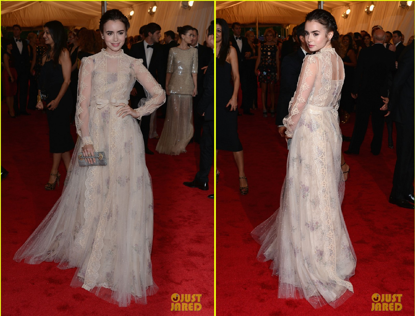 The yearold actress lily collins wore a valentino dress paired