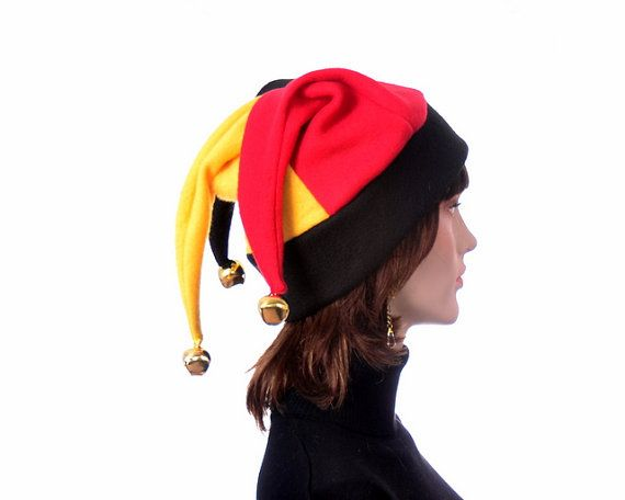 f588a5d588a Red Black and Gold Jester Hat Motley Fool Hat Men Women Adult 35.00 ...