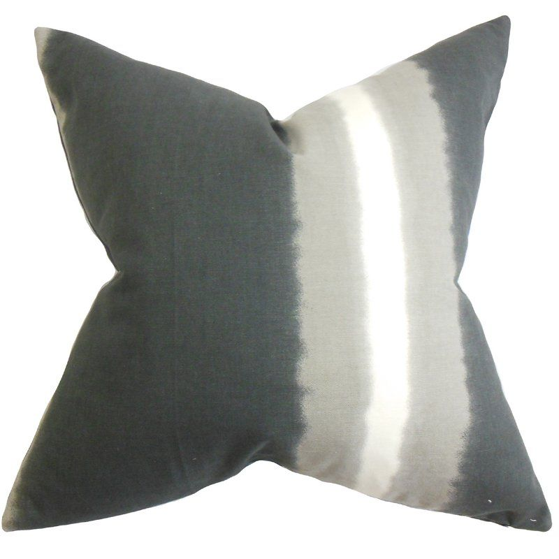 Djuna Stripe Cotton Throw Pillow Throw Pillows Grey