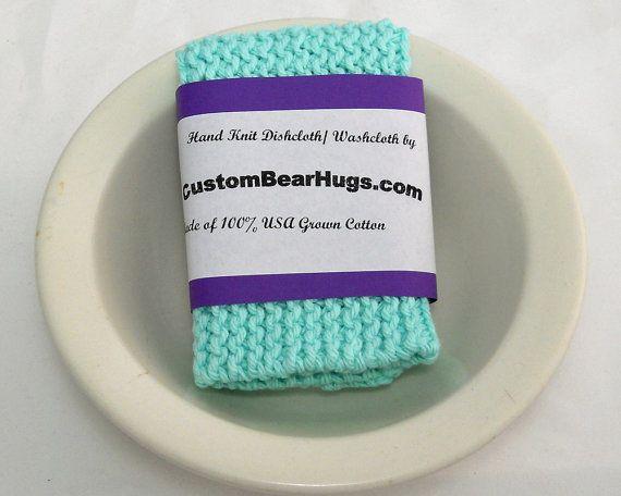 Hand Knit Cotton Washcloth Large Knit Cotton by CustomBearHugs