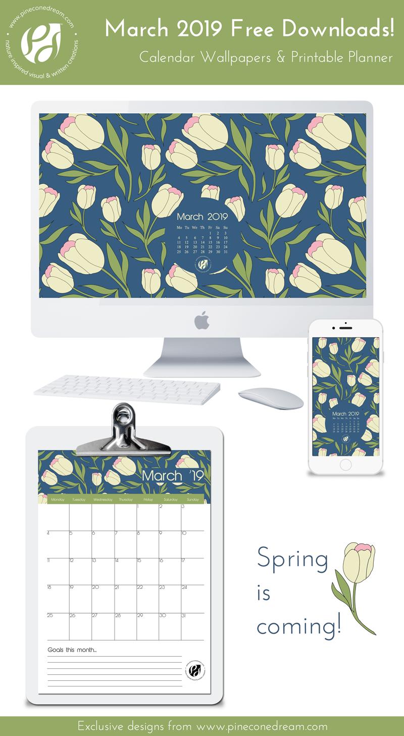 march 2019 free calendar wallpapers printable planner illustrated rh pinterest com