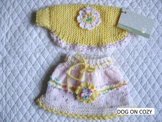 Dog Skirt and Shrug, Hand Knit for Pet, Size XSMALL, Yellow | Falda ...