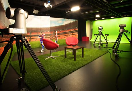 themed studio space for interviews