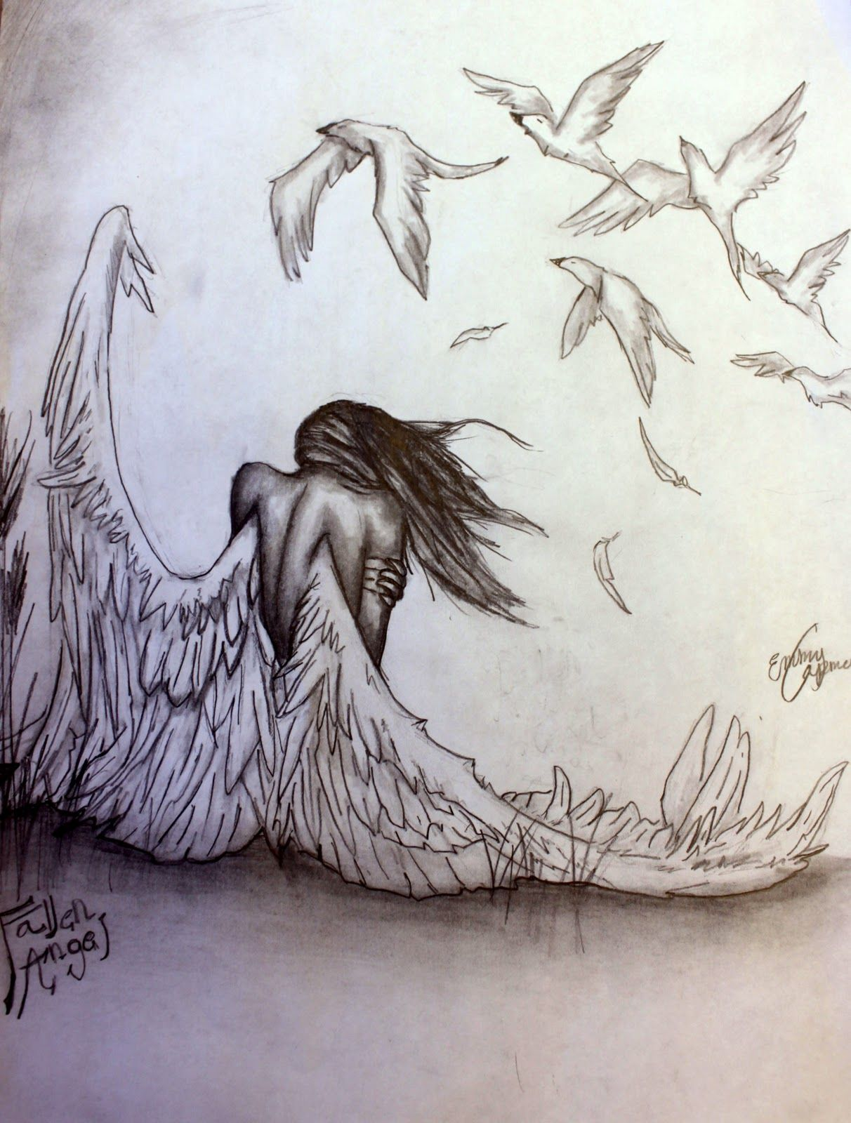 Pencil pizazz by emmy capman fallen angel drawings of angels tattoos of angels