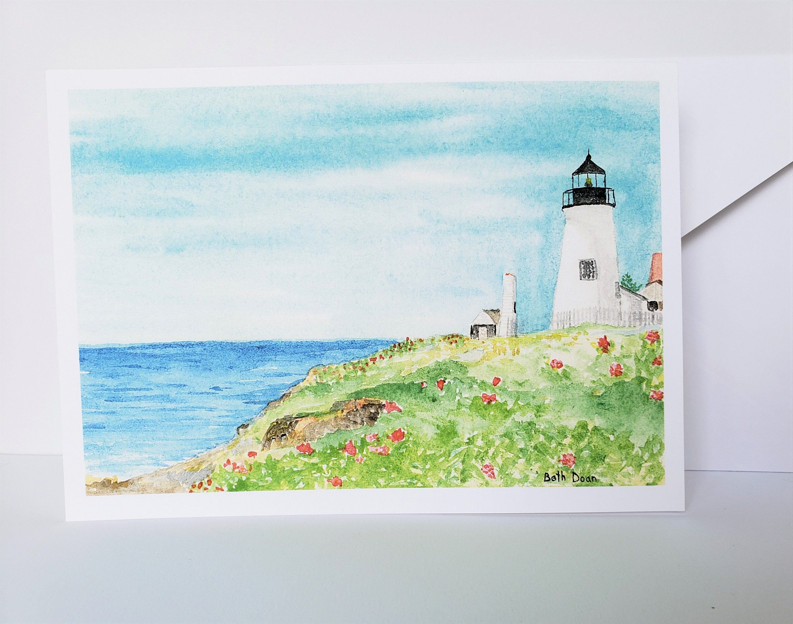 Summer at Pemaquid Point Lighthouse,  4.25 x 5.5 Note Card & envelope, Maine Lighthouse