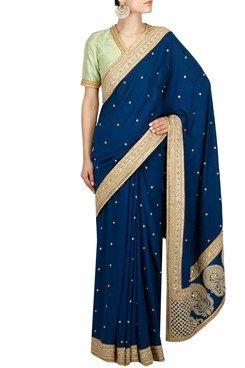 Sarees, Royal blue sequins and dori embroidered saree