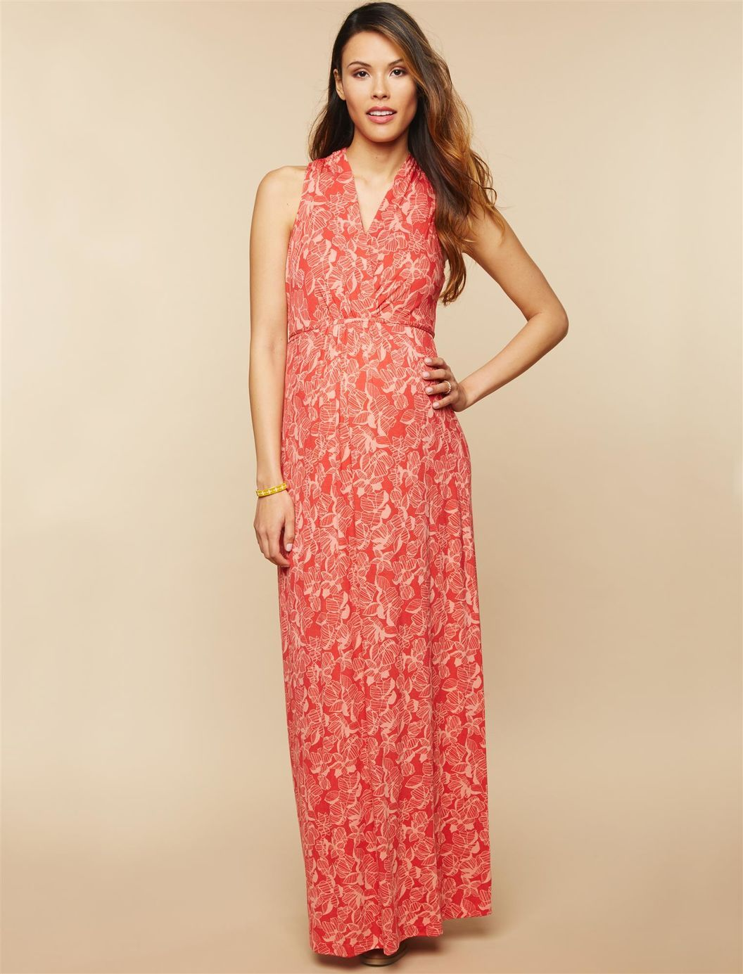 3ad5fdaf9bd Surplice Neckline Maternity Maxi Dress- Red Floral Print ...