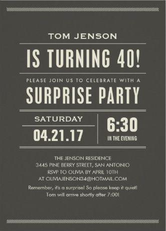 Elegant classic minimalist Menu0027s Birthday Party Invitations Easy to - fresh invitation birthday simple