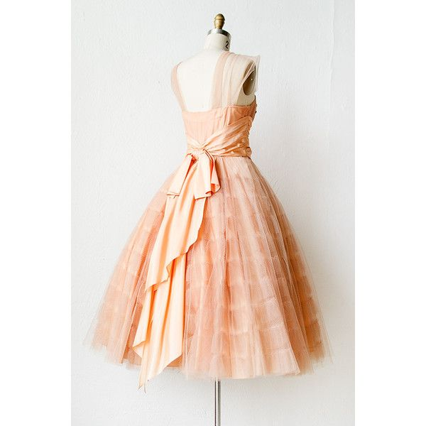 vintage 1950s peach tulle sequin prom dress [Pursuit of Bliss Dress] -... via Polyvore