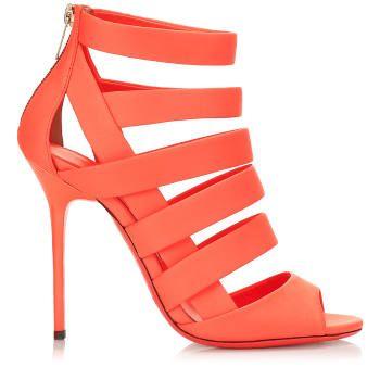 Jimmy Choo Damsen Neon Flame Nappa Leather Sandals Womens