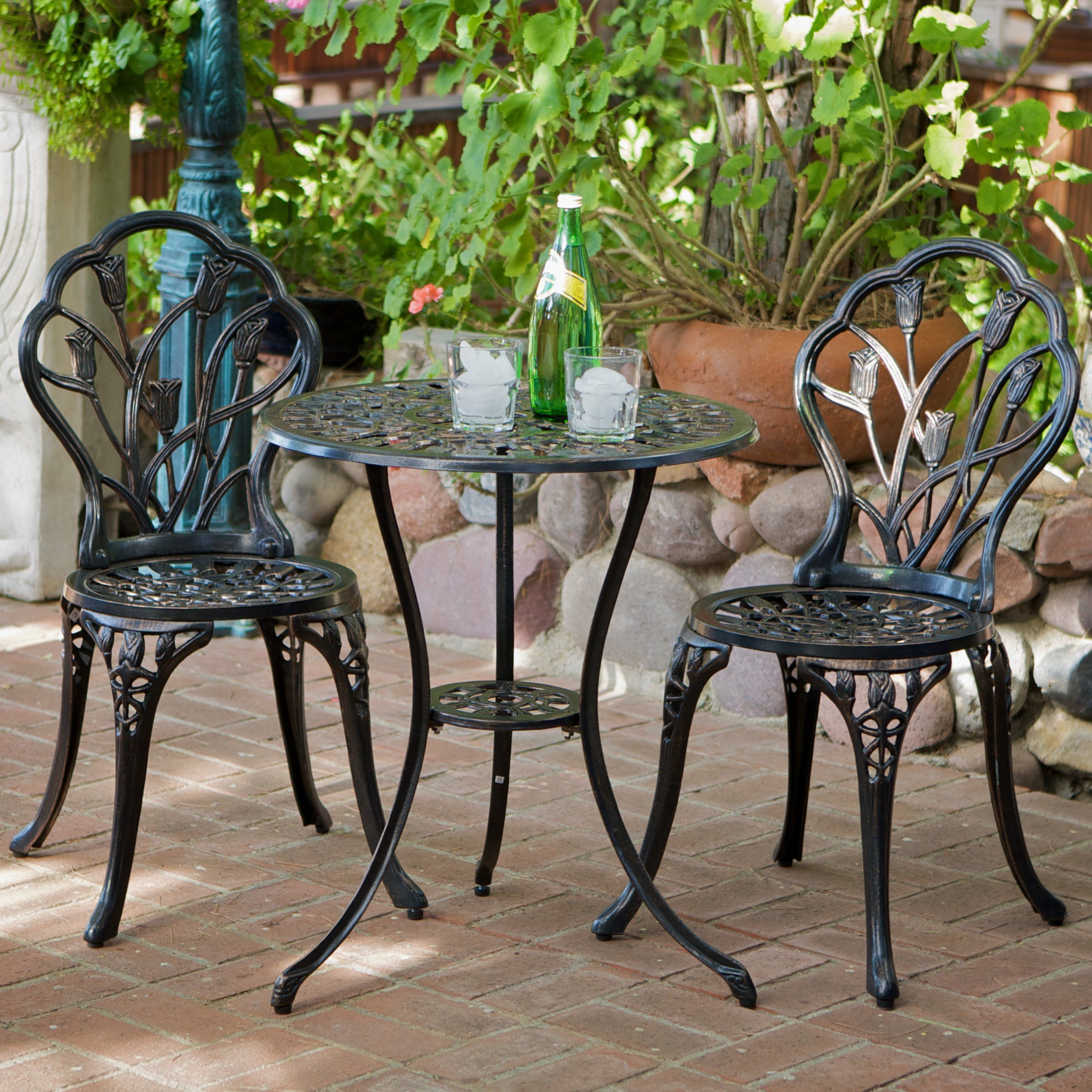 Best Selling Nassau Cast Aluminum Outdoor Bistro Furniture Set Brown More Info Could Be Fo Outdoor Bistro Set Outdoor Patio Furniture Sets Bistro Furniture