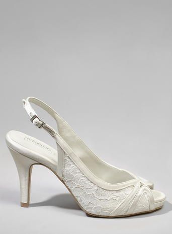 Oona Lace Asymmetric Sling Back Peep Toe Heel Ivory
