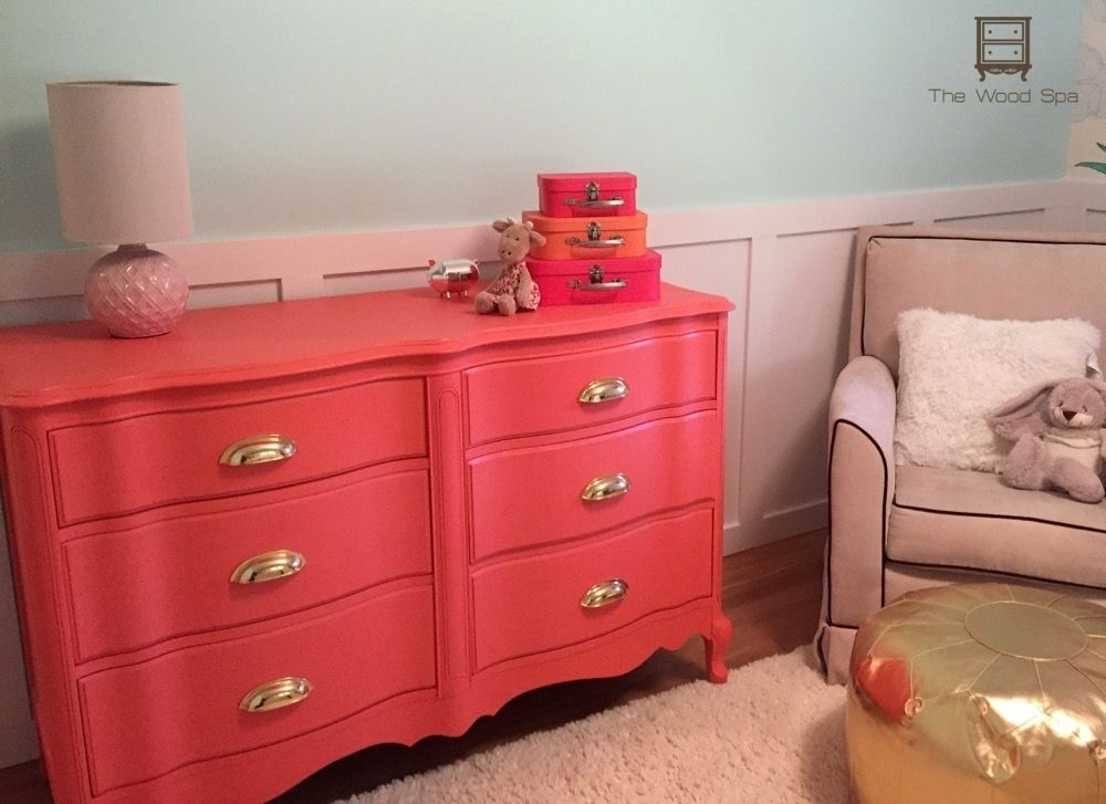 Coral French Provincial dresser with cup pulls. http://bit.ly/1LS2KEo