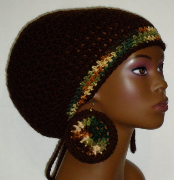 Brown Crochet Rasta Tam with Drawstring and Earrings Dreadlocks by ...