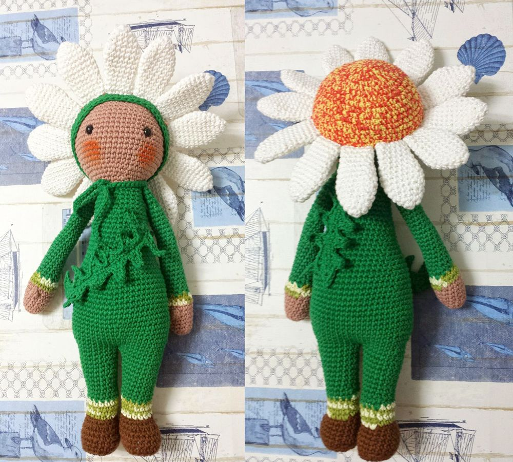 Daisy flower doll - Sunflower Sam modification made by Eugenia H P ...